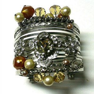 Fshion Cuff Bangle Bracelet Faux Pearl Amber Beads